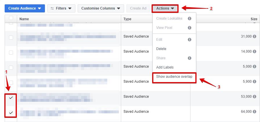 Сравниваем процент пересечения в аудиториях Facebook