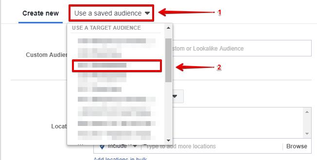 Выбираем сохраненную аудиторию в кабинете фейсбука