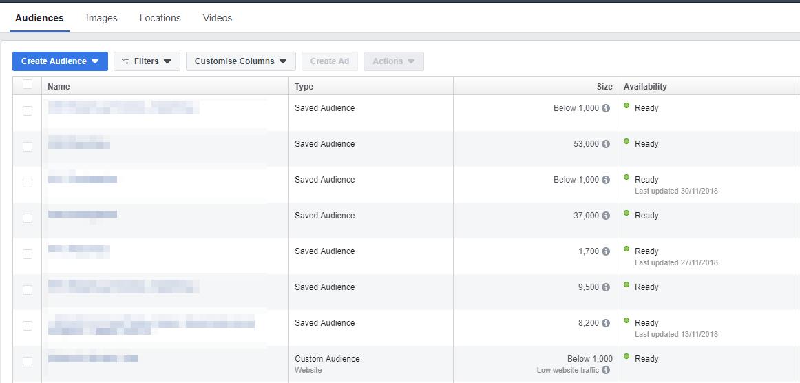 Интерфейс для создания аудиторий в Facebook